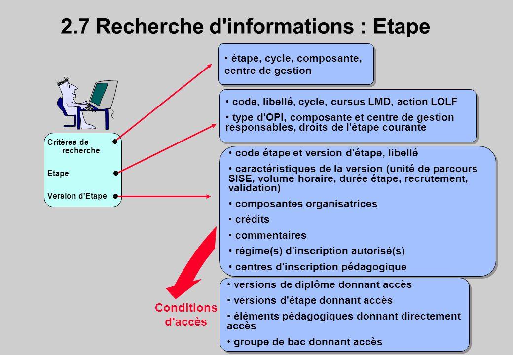 Critères de recherche Etape Version d Etape