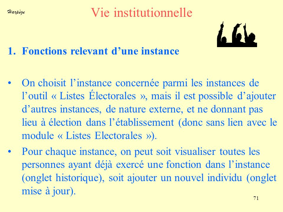 Vie institutionnelle Fonctions relevant d'une instance
