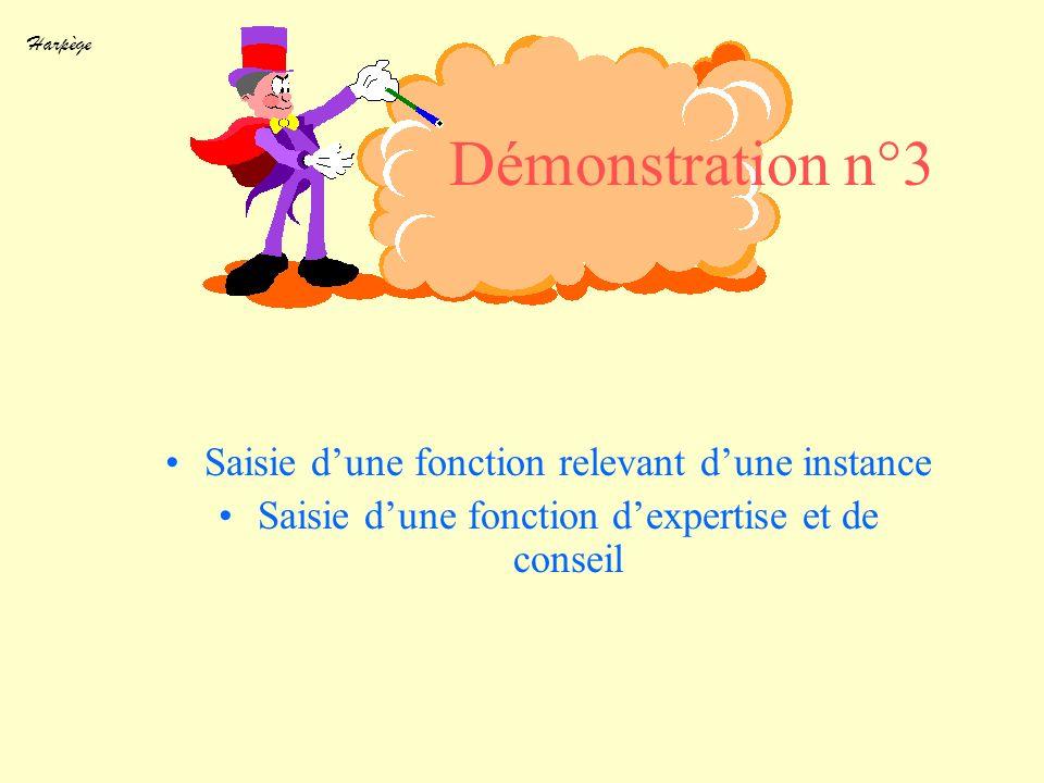 Démonstration n°3 Saisie d'une fonction relevant d'une instance