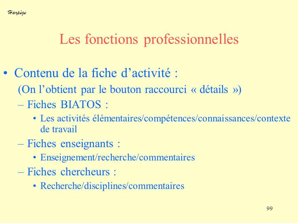 Les fonctions professionnelles