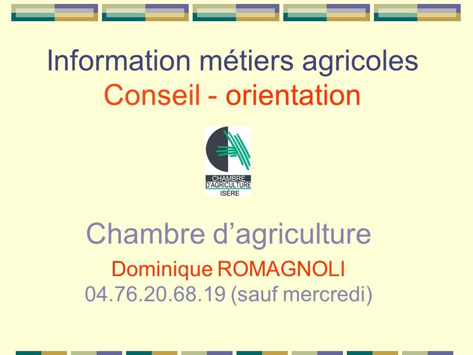 Information métiers agricoles Conseil - orientation