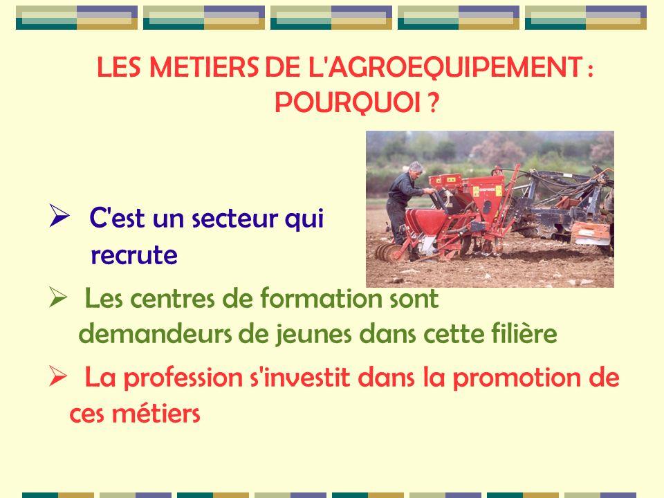 LES METIERS DE L AGROEQUIPEMENT : POURQUOI