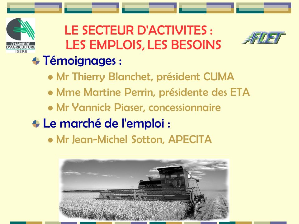 LE SECTEUR D ACTIVITES : LES EMPLOIS, LES BESOINS