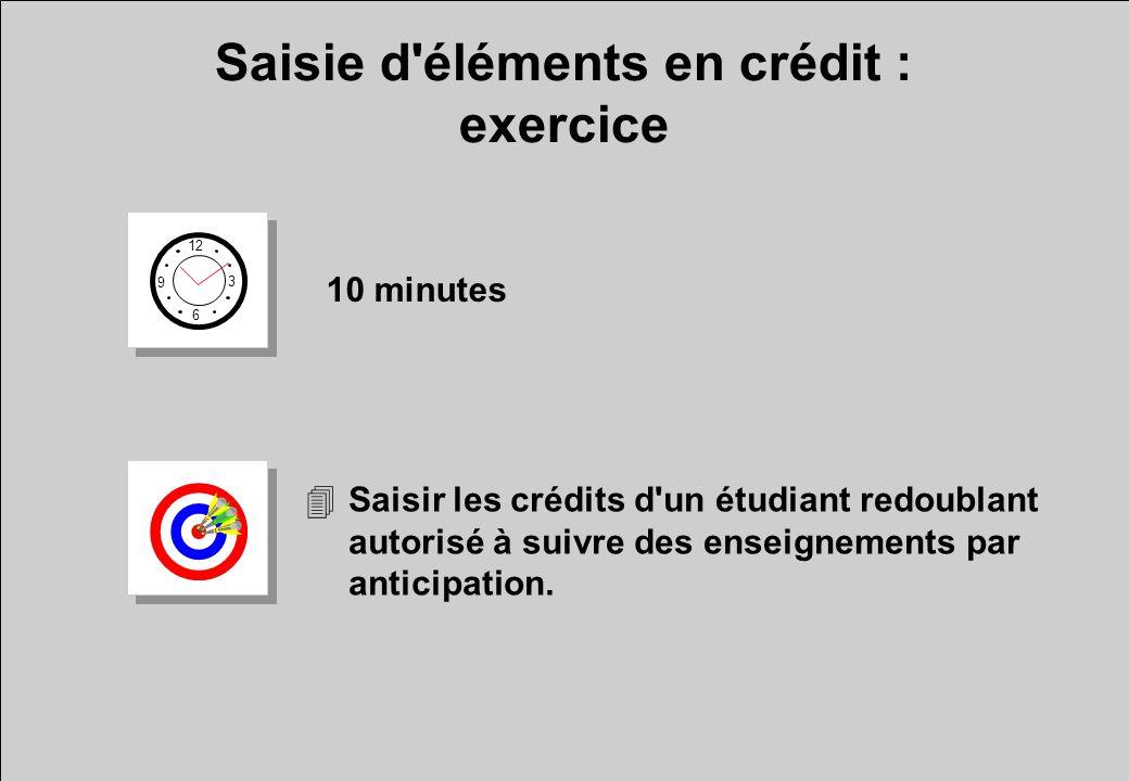 Saisie d éléments en crédit : exercice