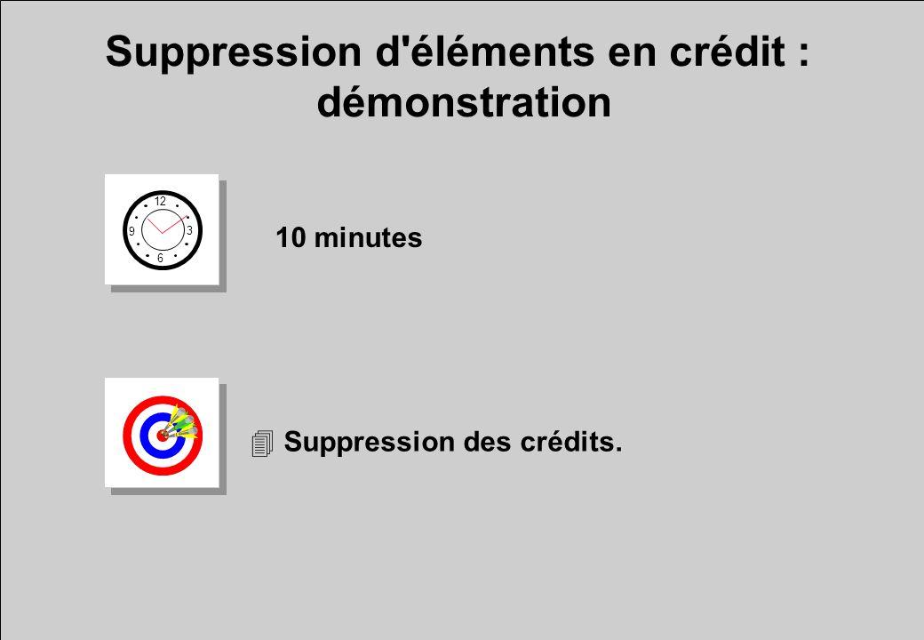 Suppression d éléments en crédit : démonstration