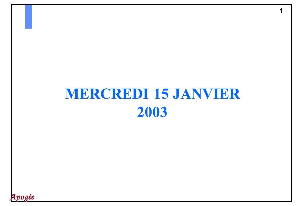 MERCREDI 15 JANVIER 2003