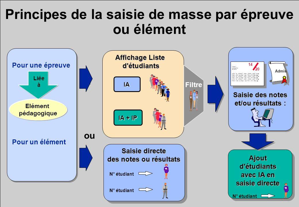Principes de la saisie de masse par épreuve ou élément