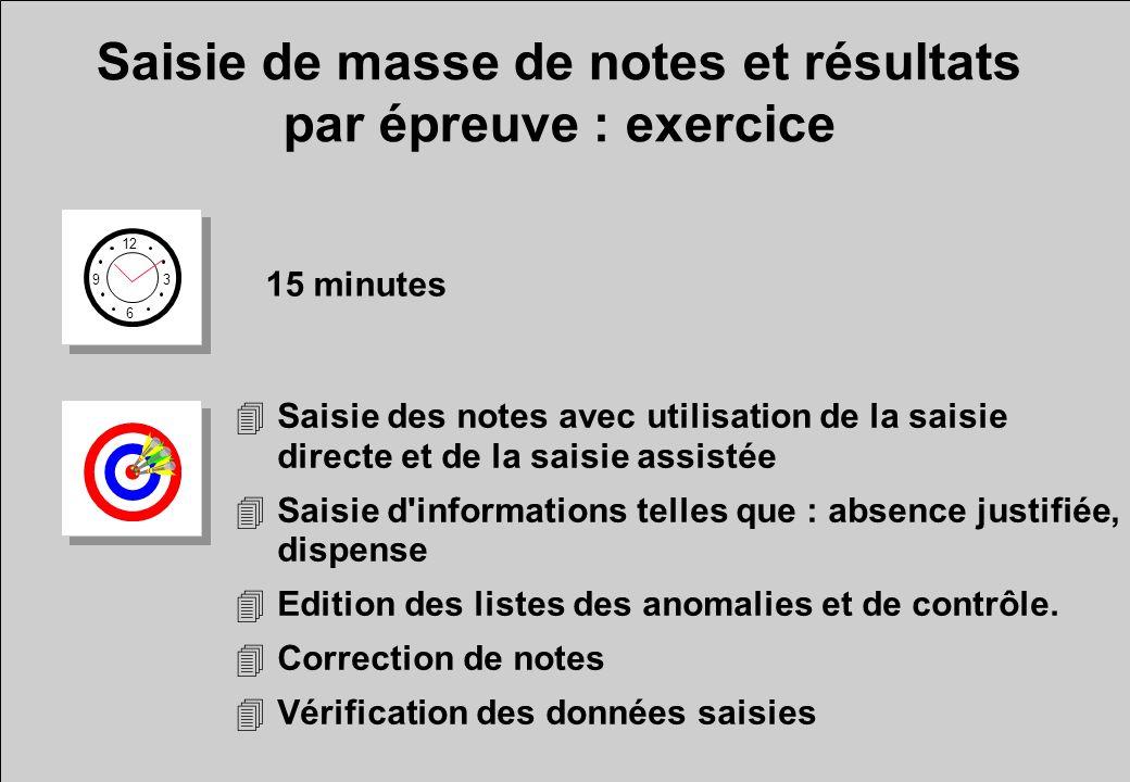 Saisie de masse de notes et résultats par épreuve : exercice