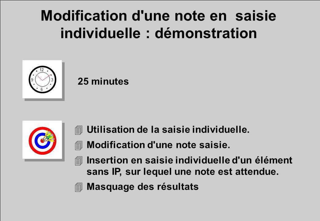 Modification d une note en saisie individuelle : démonstration