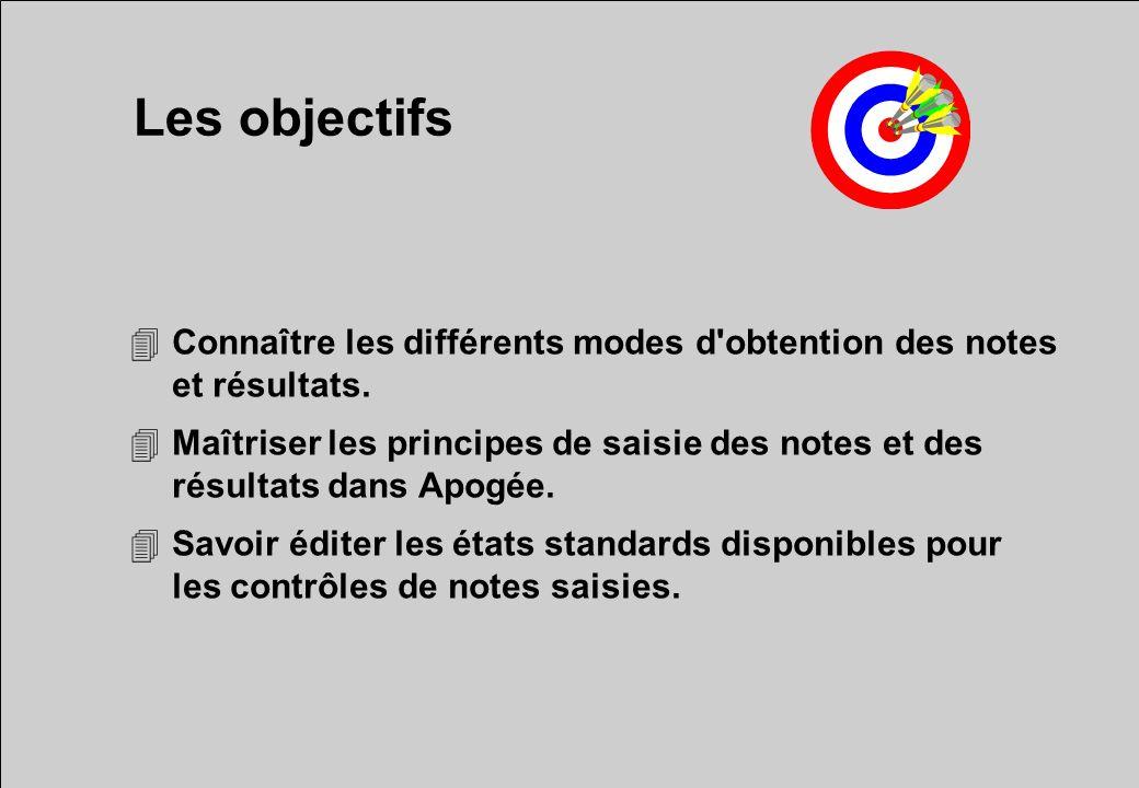 Les objectifs Connaître les différents modes d obtention des notes et résultats.