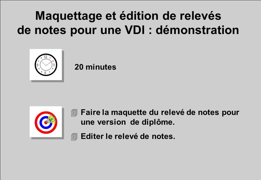 Maquettage et édition de relevés de notes pour une VDI : démonstration