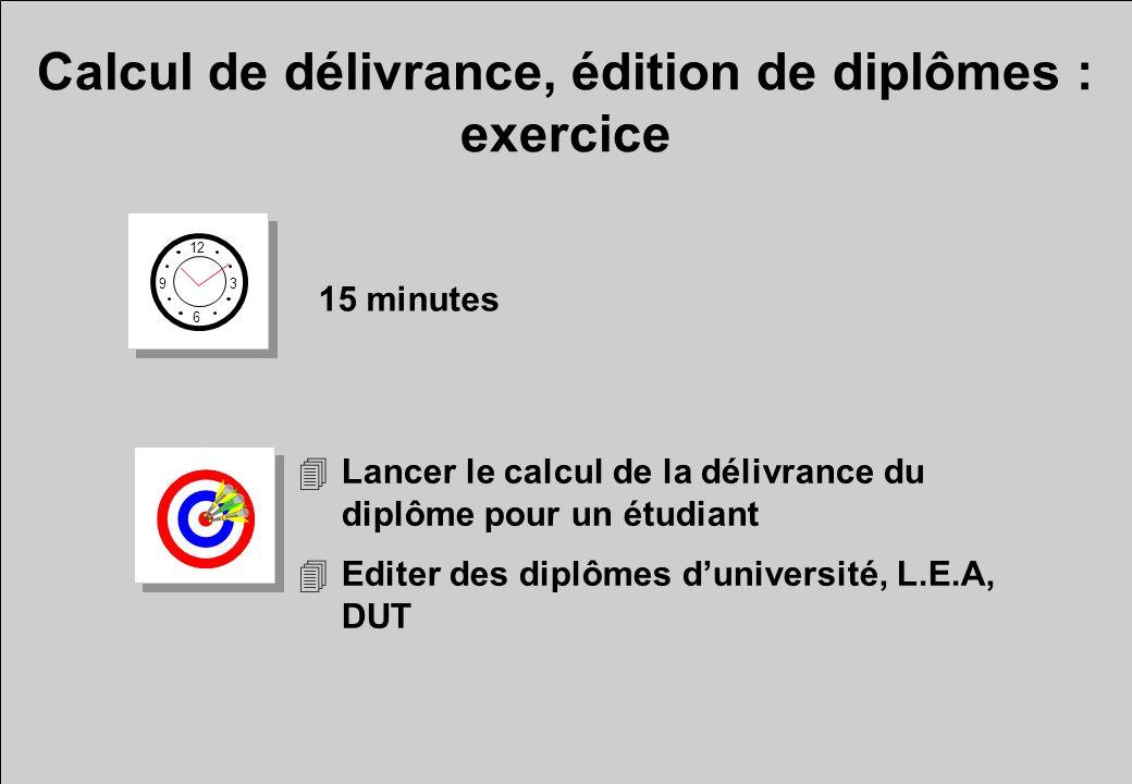 Calcul de délivrance, édition de diplômes : exercice