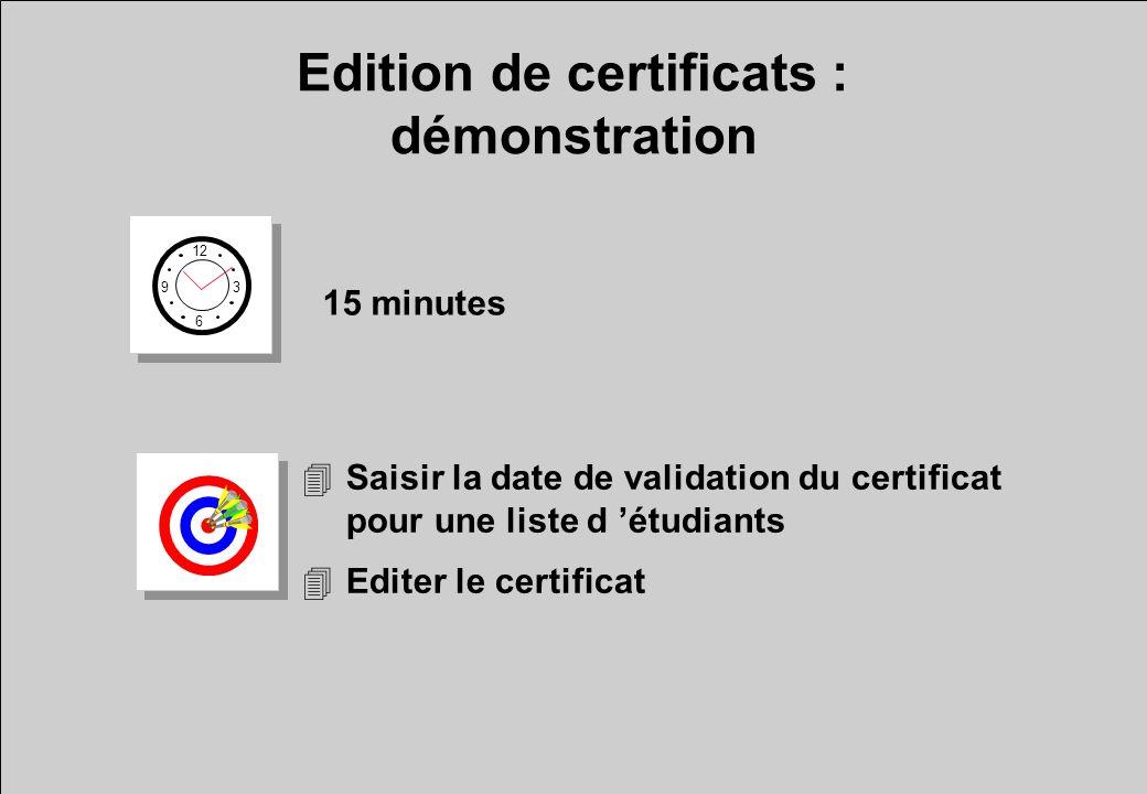 Edition de certificats : démonstration