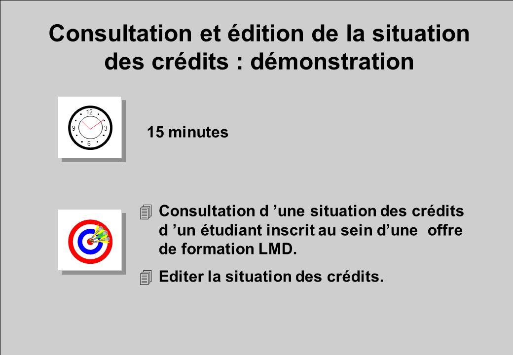 Consultation et édition de la situation des crédits : démonstration