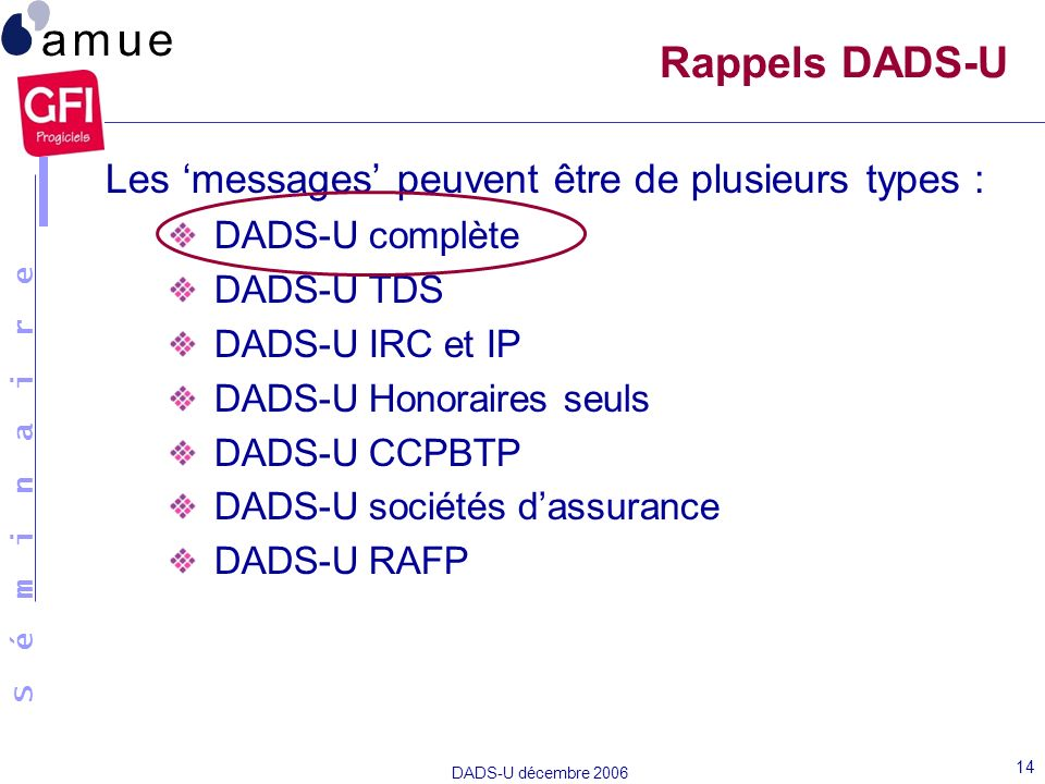 Rappels DADS-U Les 'messages' peuvent être de plusieurs types :