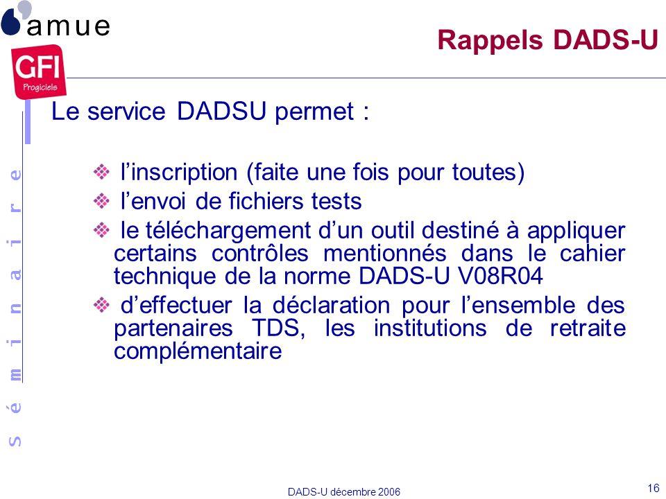 Rappels DADS-U Le service DADSU permet :