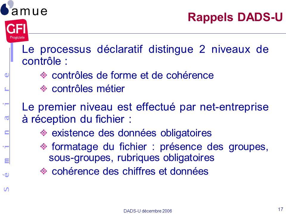 Rappels DADS-U Le processus déclaratif distingue 2 niveaux de contrôle : contrôles de forme et de cohérence.