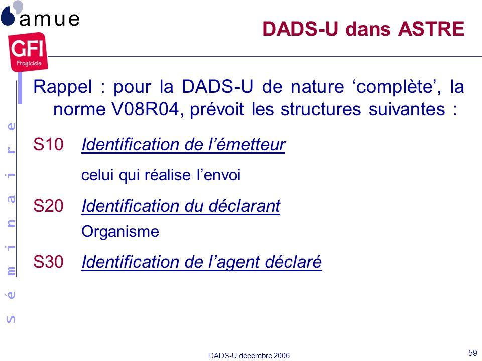 DADS-U dans ASTRE Rappel : pour la DADS-U de nature 'complète', la norme V08R04, prévoit les structures suivantes :