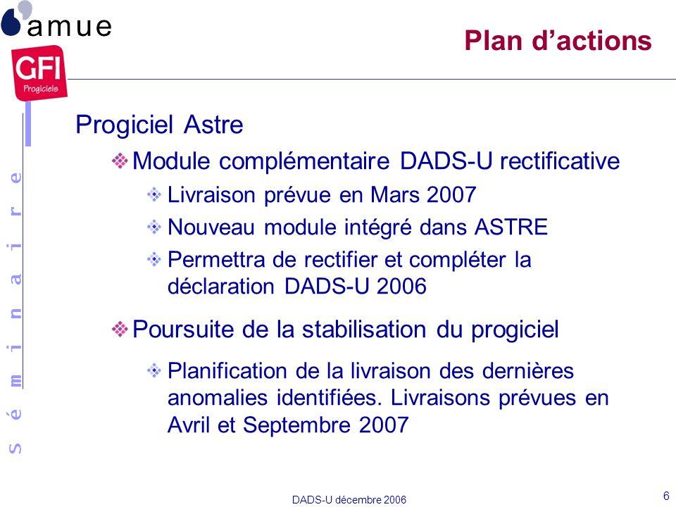 Plan d'actions Progiciel Astre