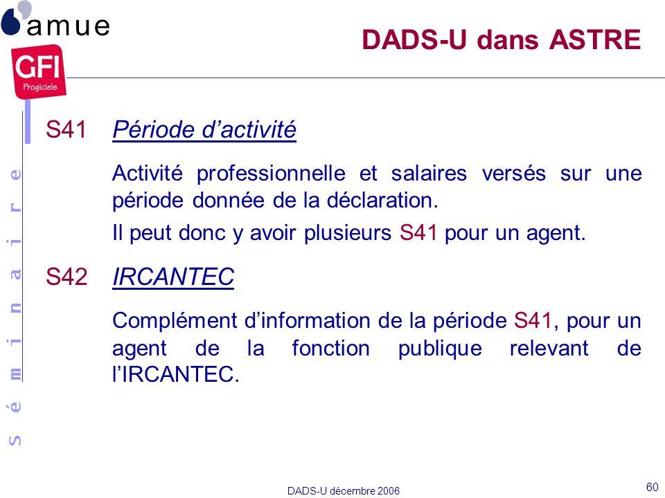 DADS-U dans ASTRE S41 Période d'activité. Activité professionnelle et salaires versés sur une période donnée de la déclaration.