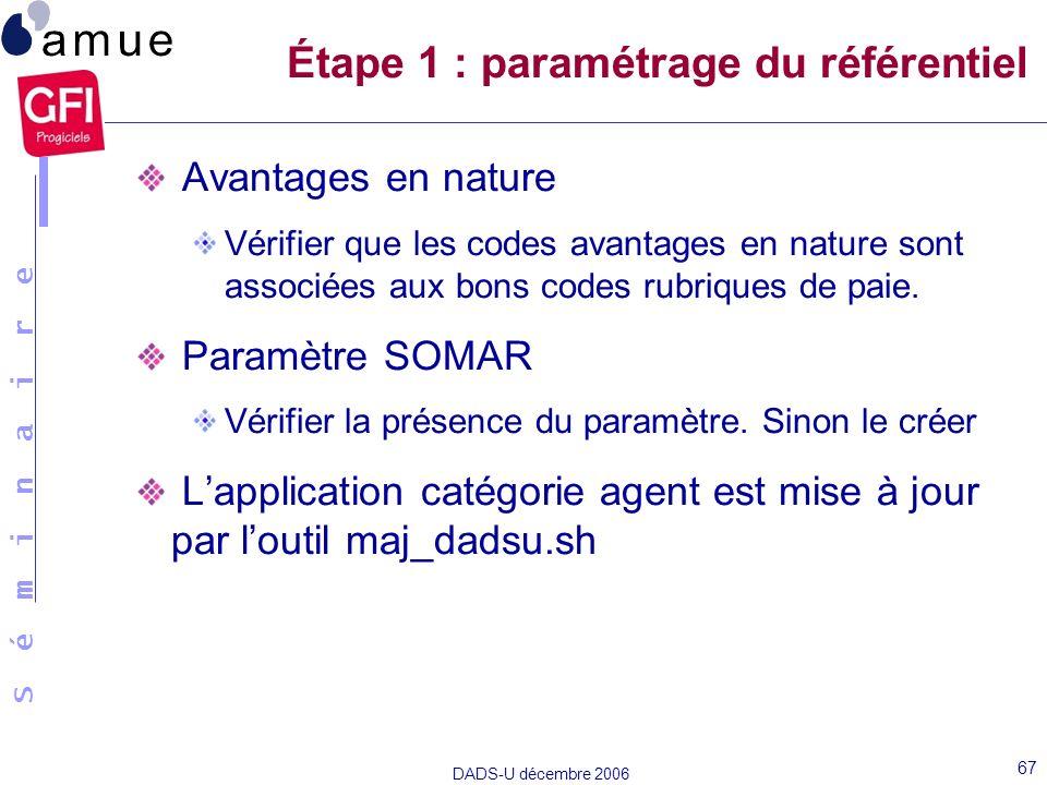 Étape 1 : paramétrage du référentiel