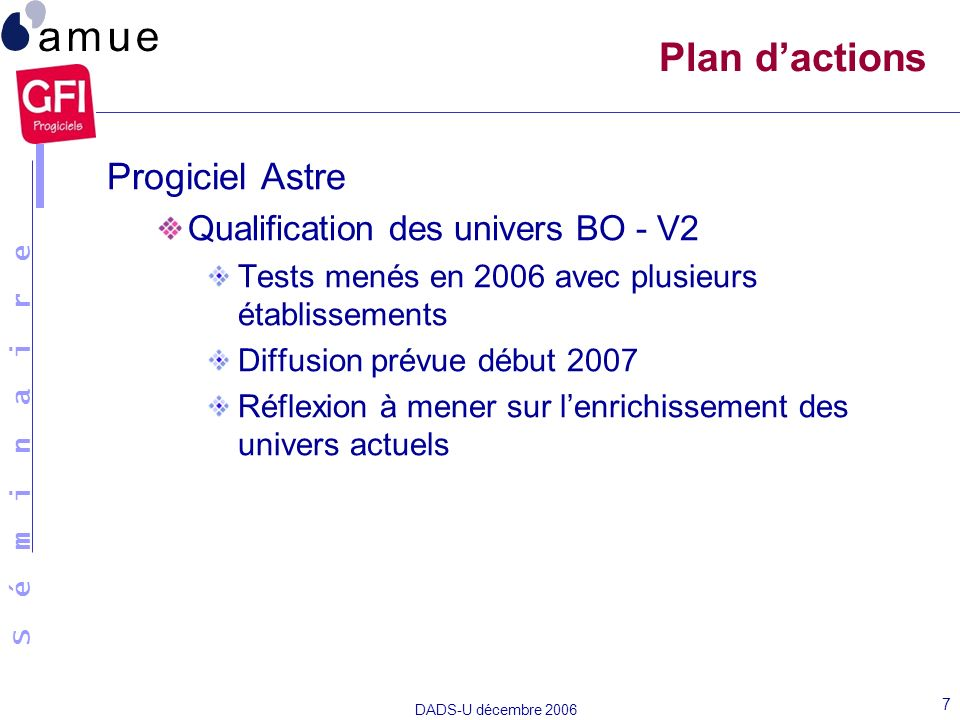 Plan d'actions Progiciel Astre Qualification des univers BO - V2