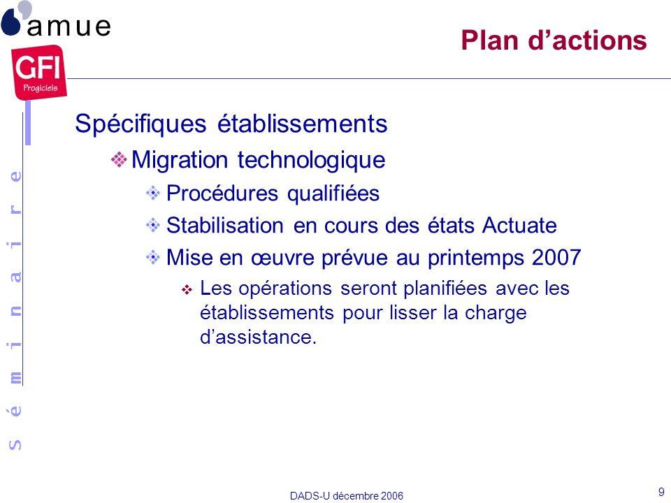 Plan d'actions Spécifiques établissements Migration technologique