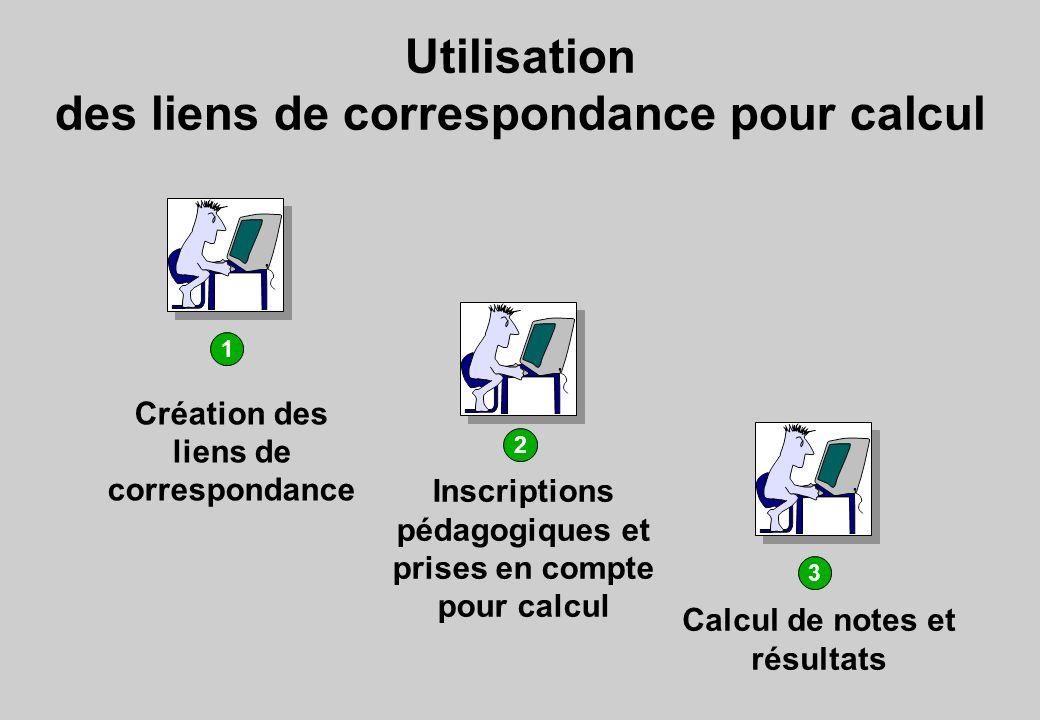 Utilisation des liens de correspondance pour calcul