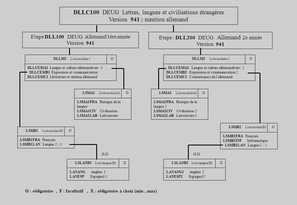 DLLC100 DEUG Lettres, langues et civilisations étrangères Version 941 : mention allemand