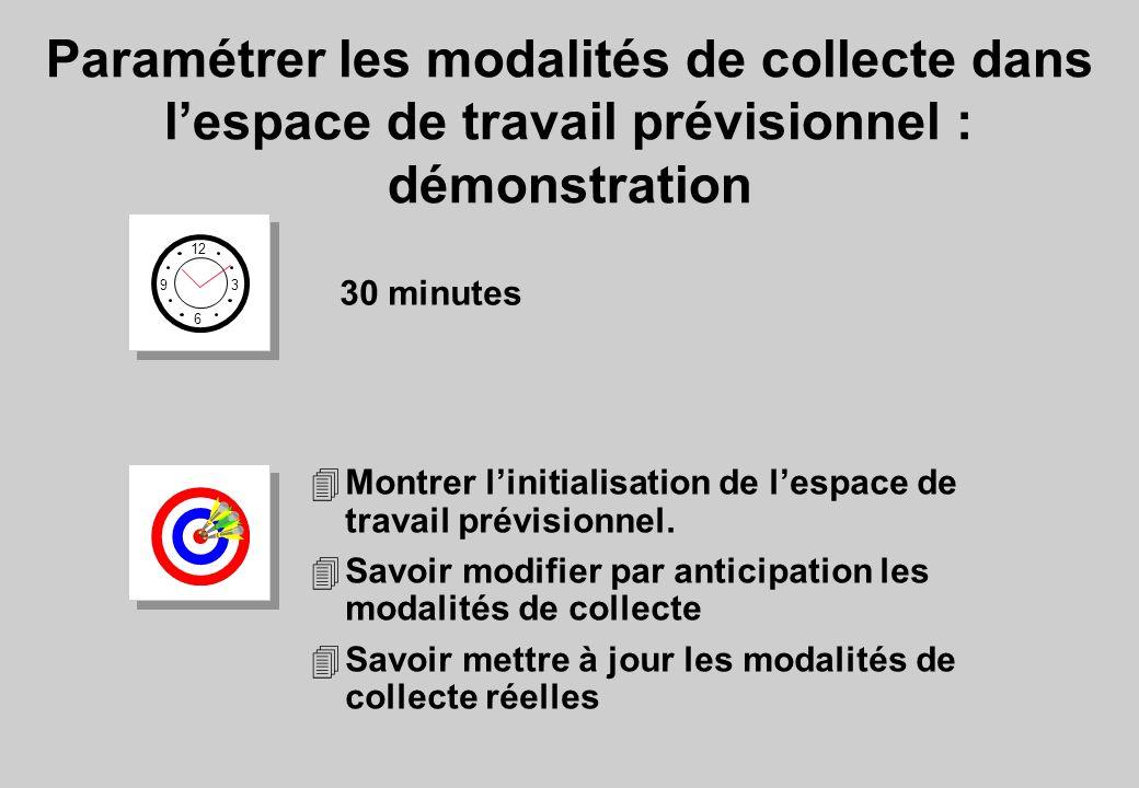 Paramétrer les modalités de collecte dans l'espace de travail prévisionnel : démonstration