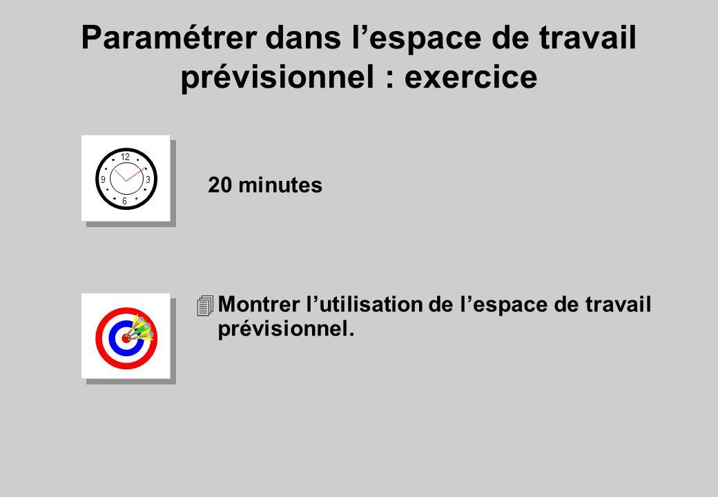 Paramétrer dans l'espace de travail prévisionnel : exercice