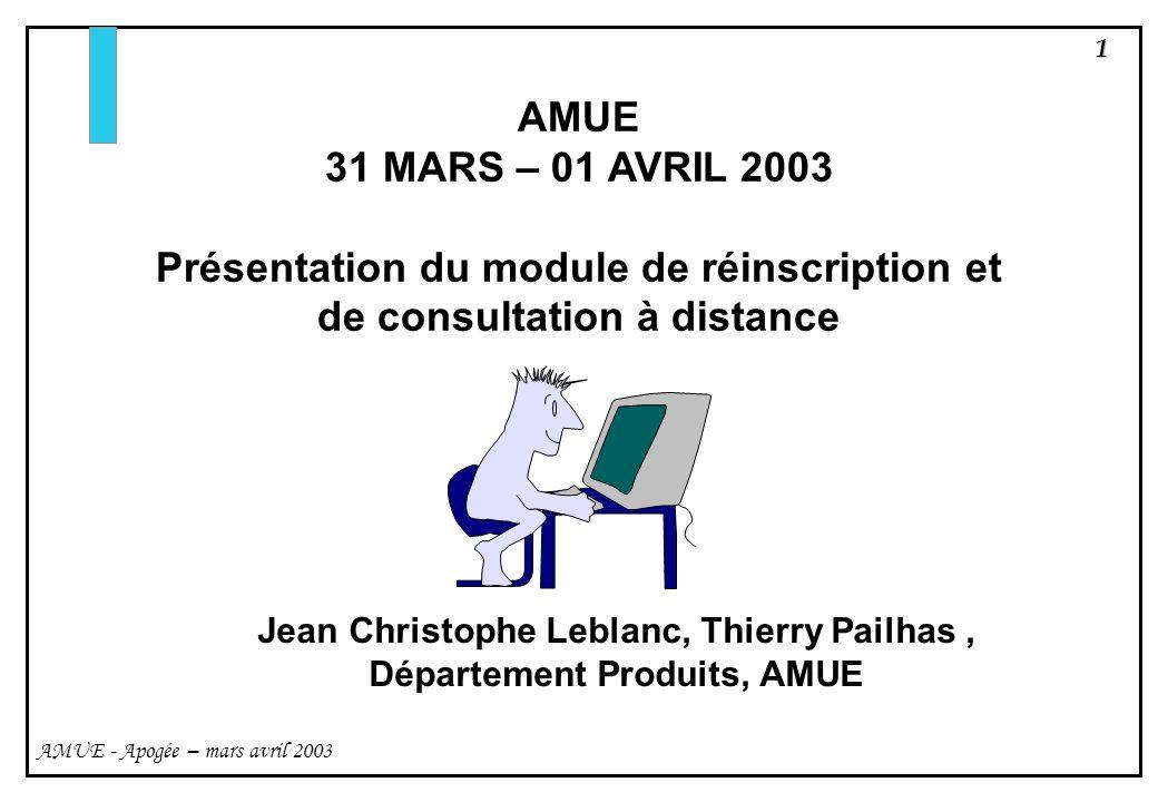 Présentation du module de réinscription et de consultation à distance