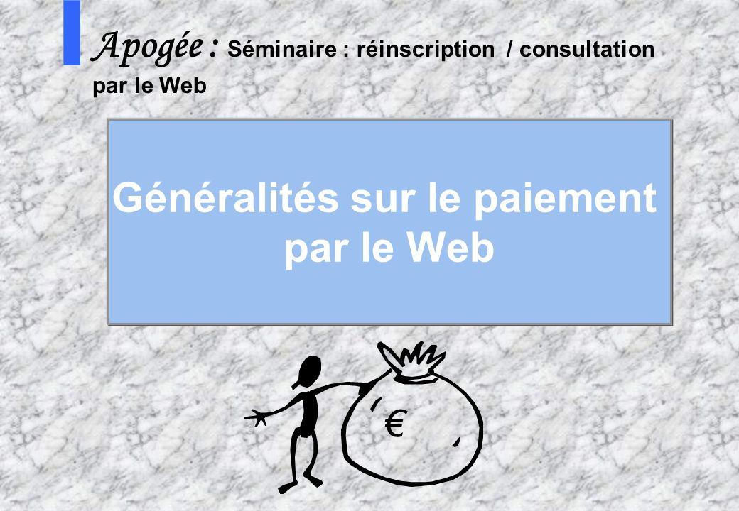 Généralités sur le paiement par le Web