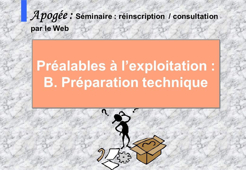 Préalables à l'exploitation : B. Préparation technique