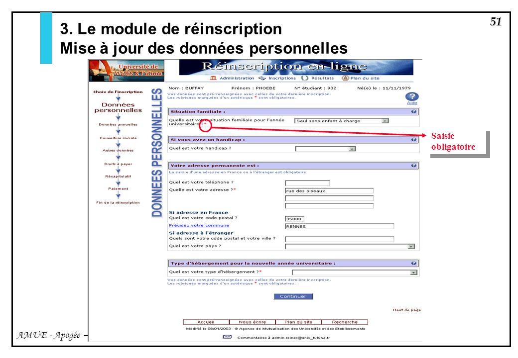 3. Le module de réinscription Mise à jour des données personnelles