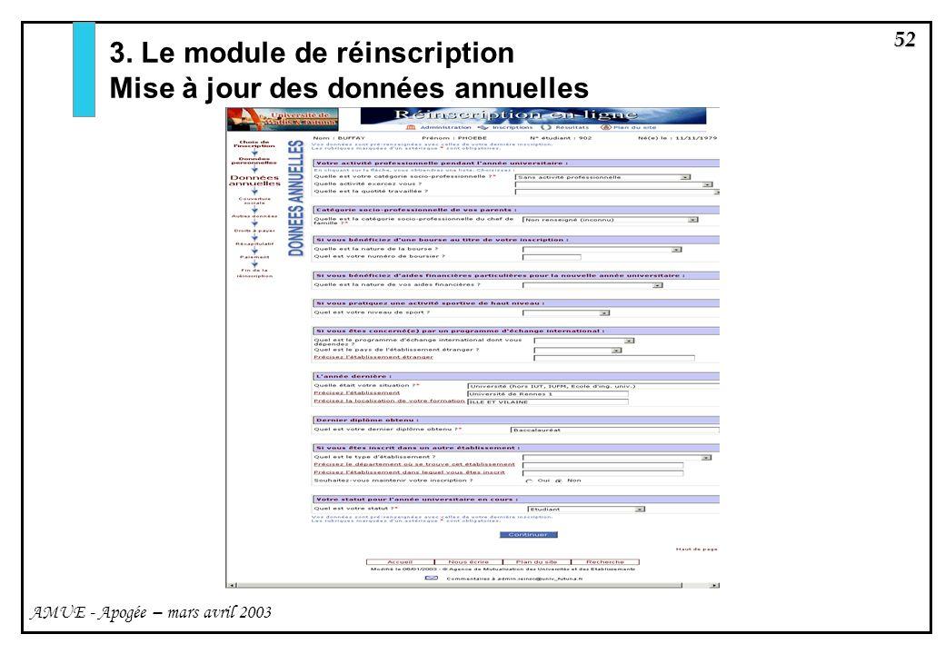 3. Le module de réinscription Mise à jour des données annuelles