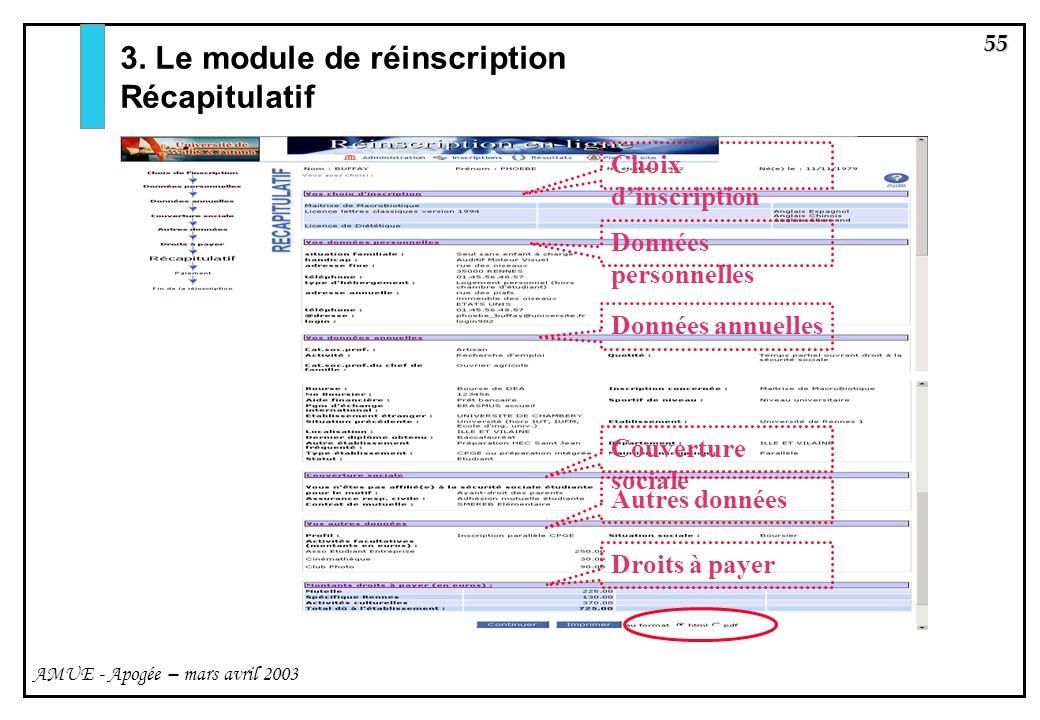 3. Le module de réinscription Récapitulatif