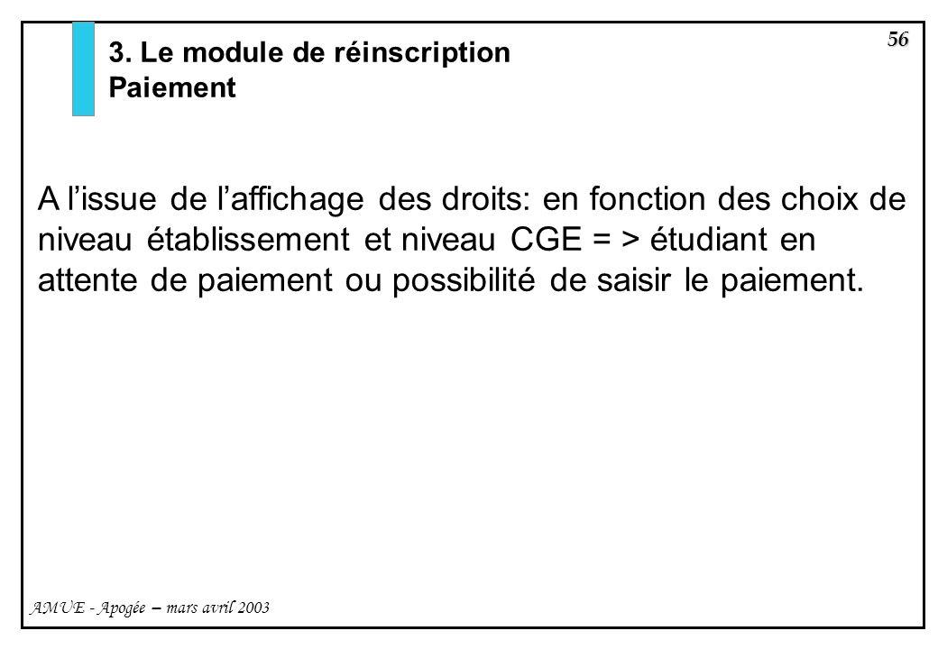 3. Le module de réinscription