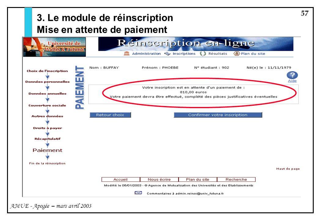 3. Le module de réinscription Mise en attente de paiement