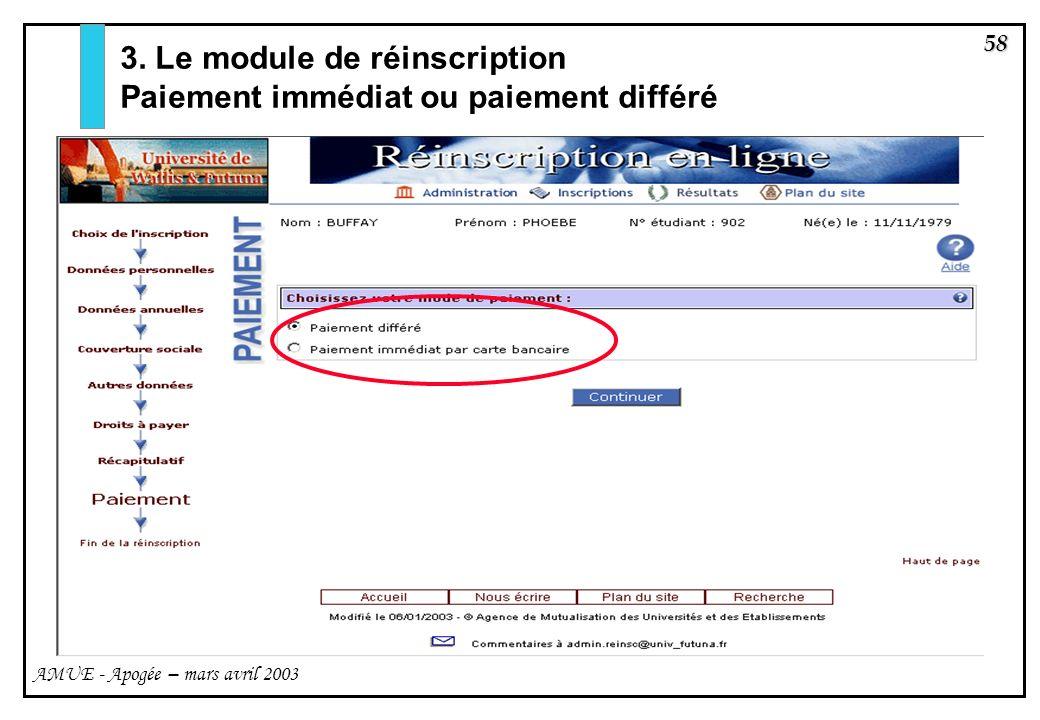 3. Le module de réinscription Paiement immédiat ou paiement différé