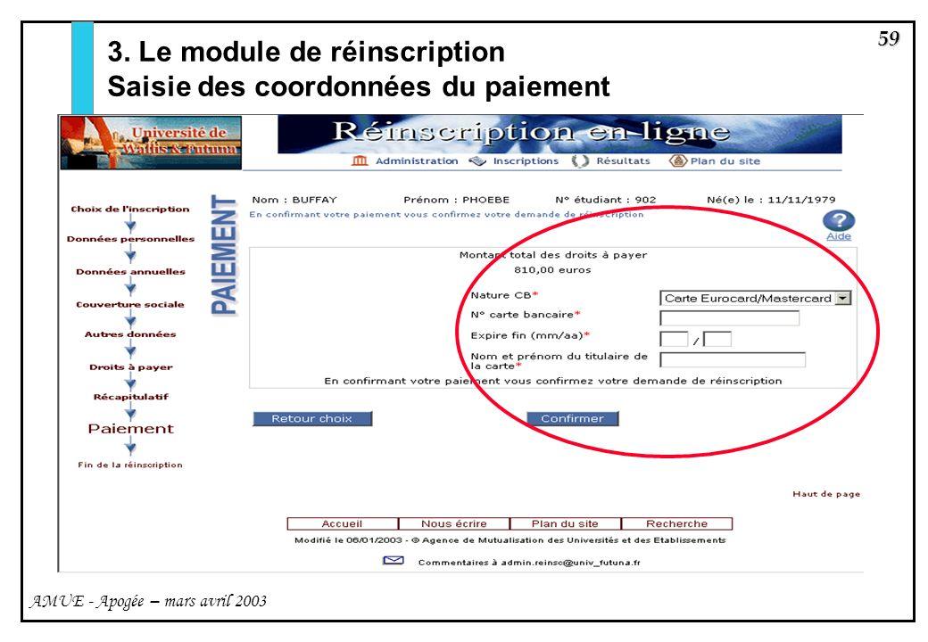 3. Le module de réinscription Saisie des coordonnées du paiement