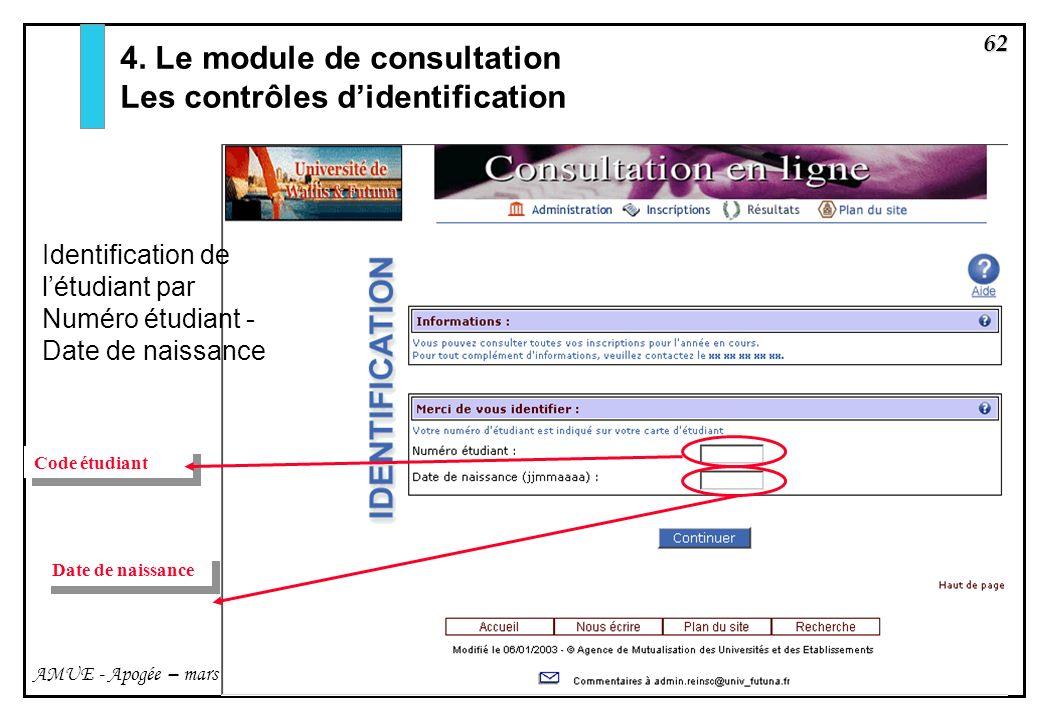4. Le module de consultation Les contrôles d'identification