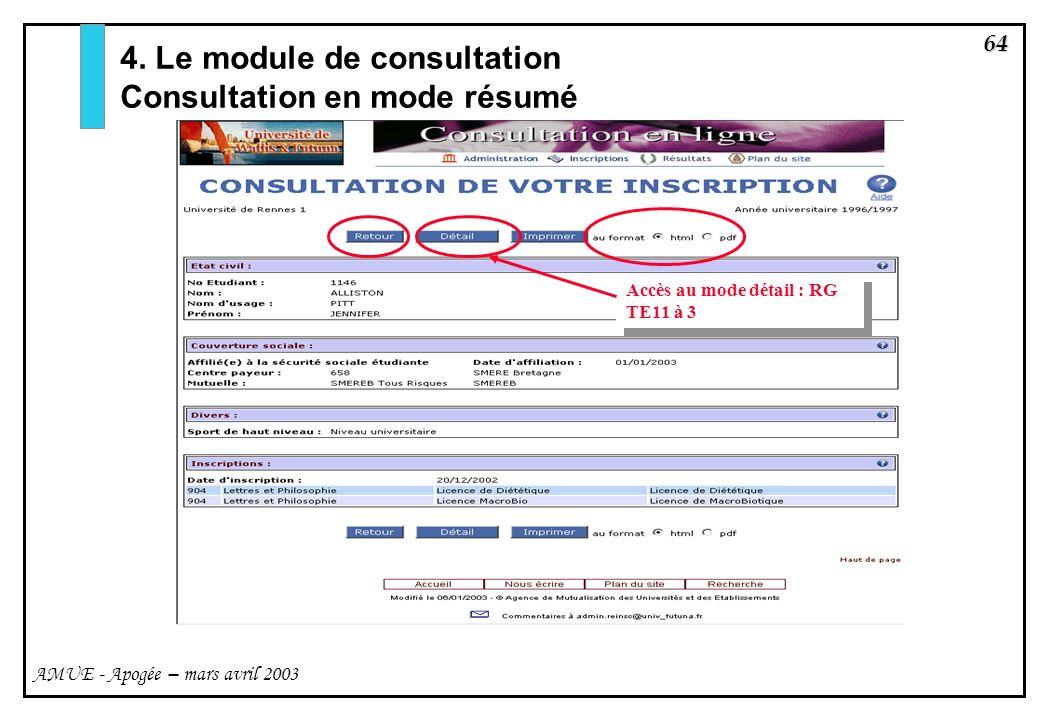 4. Le module de consultation Consultation en mode résumé