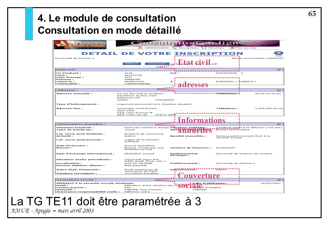 La TG TE11 doit être paramétrée à 3