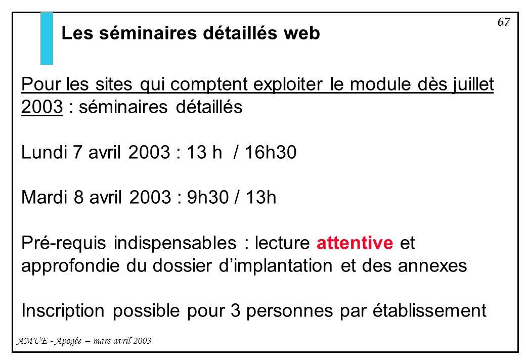 Les séminaires détaillés web