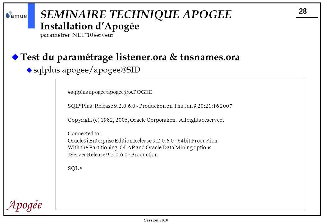 SEMINAIRE TECHNIQUE APOGEE Installation d'Apogée. paramétrer NET