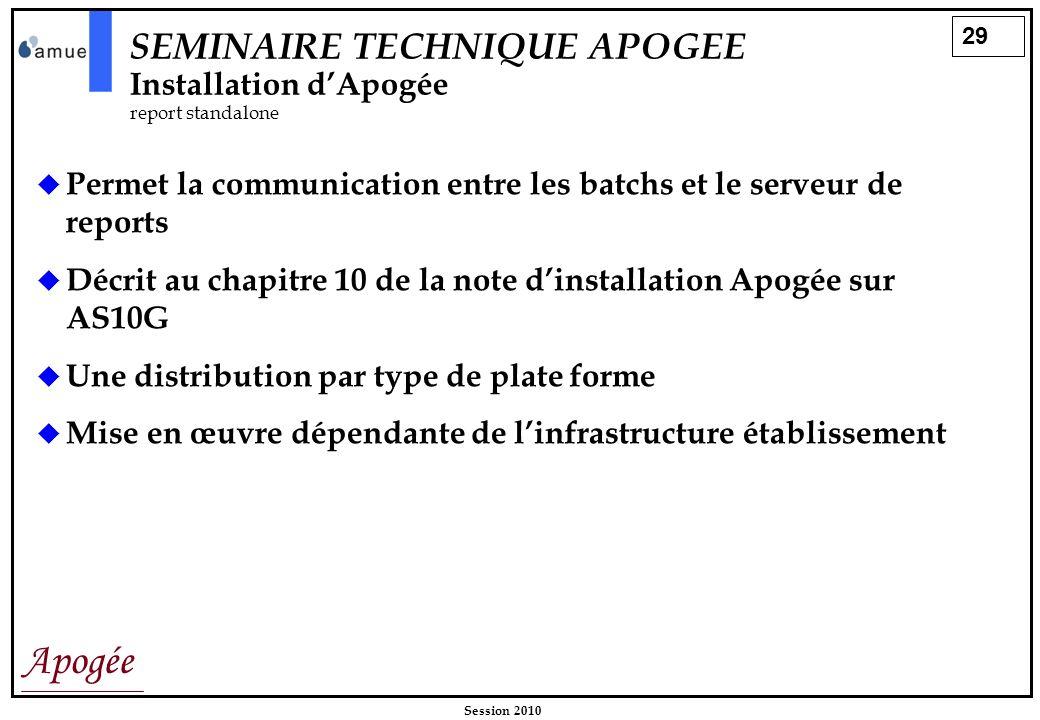 SEMINAIRE TECHNIQUE APOGEE Installation d'Apogée report standalone