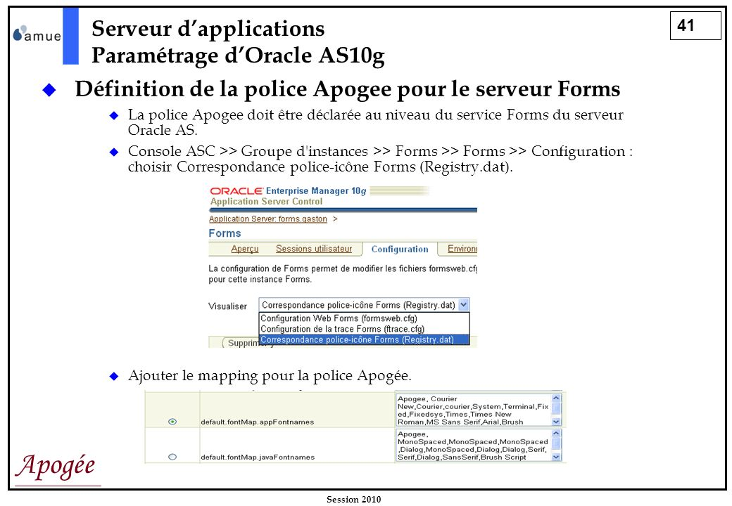 Serveur d'applications Paramétrage d'Oracle AS10g