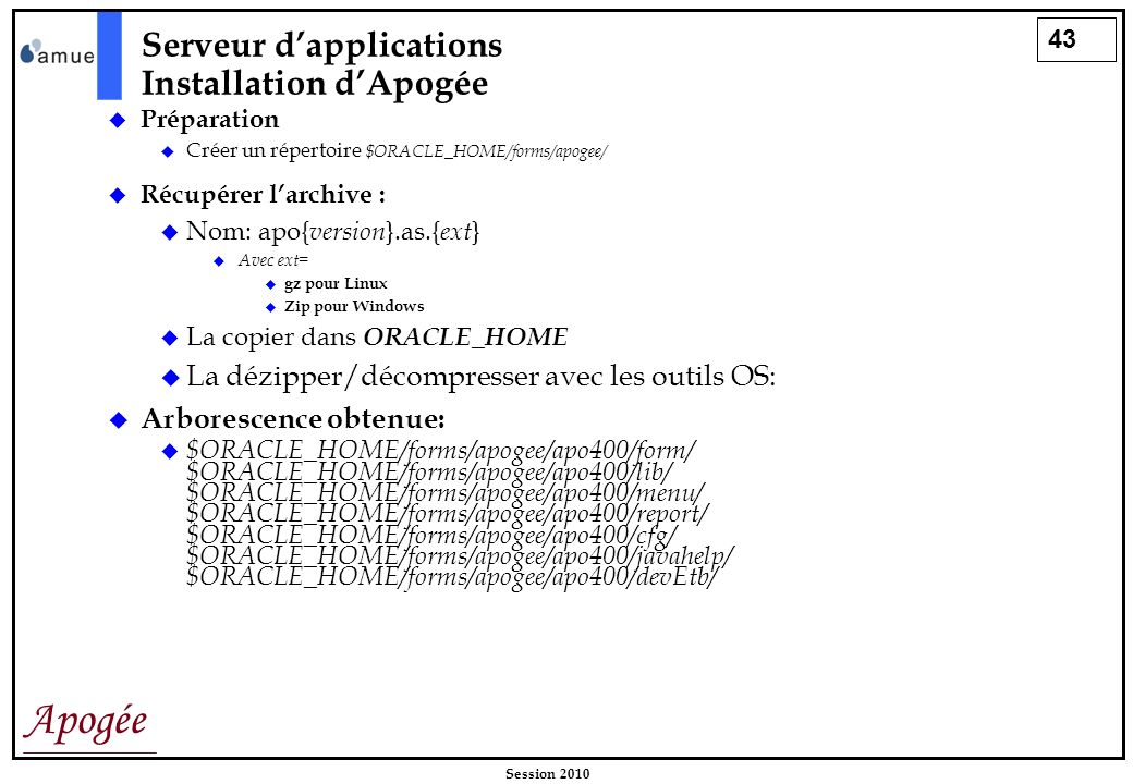 Serveur d'applications Installation d'Apogée