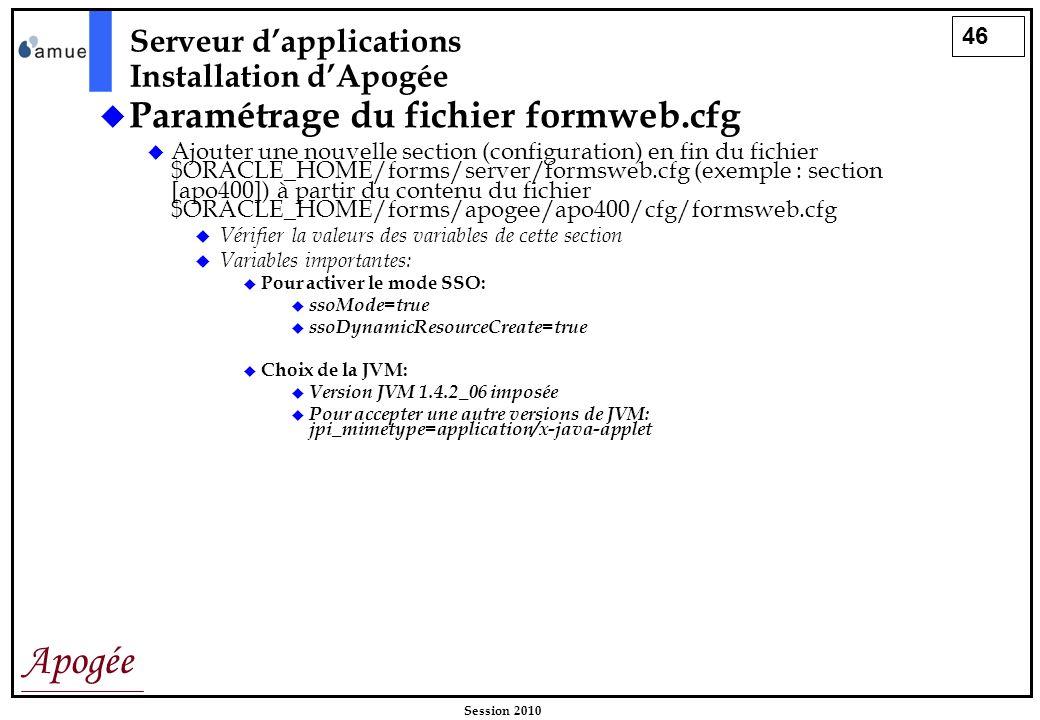 Paramétrage du fichier formweb.cfg